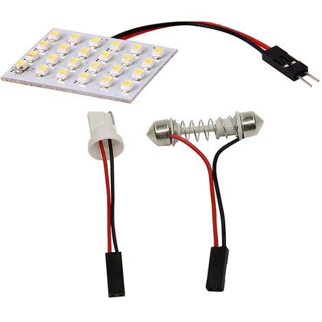 24Smd 3528 24 Led Panneau Blanc Voiture Lecture Carte Lampe Auto Dome Interieur Ampoule Toit Lumiere Avec Adaptateur T10