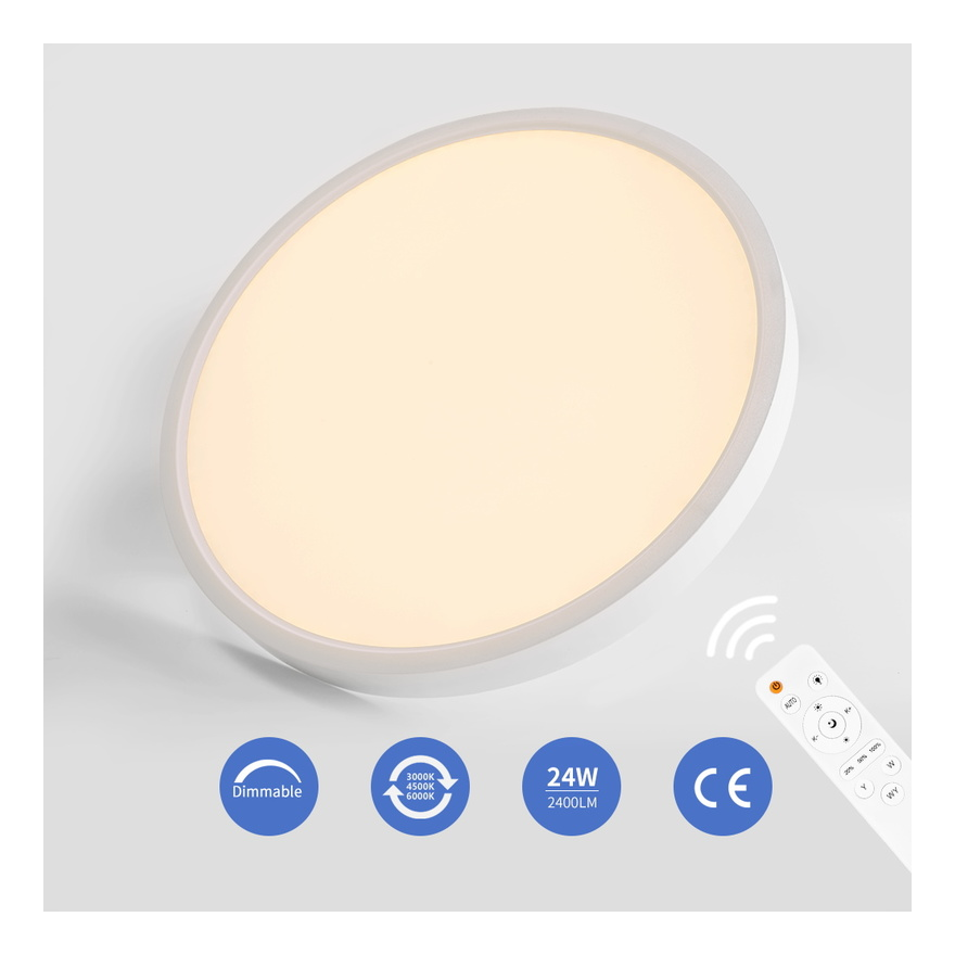 Image of 24W LED Ceiling Light IP20 1920LM Dimmable Flush Mount Lighting for Kitchen Bathroom