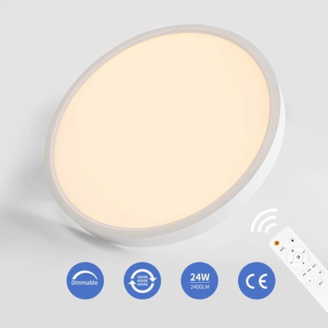 24W LED Ceiling Light IP20 1920LM Dimmable Flush Mount Lighting for Kitchen Bathroom