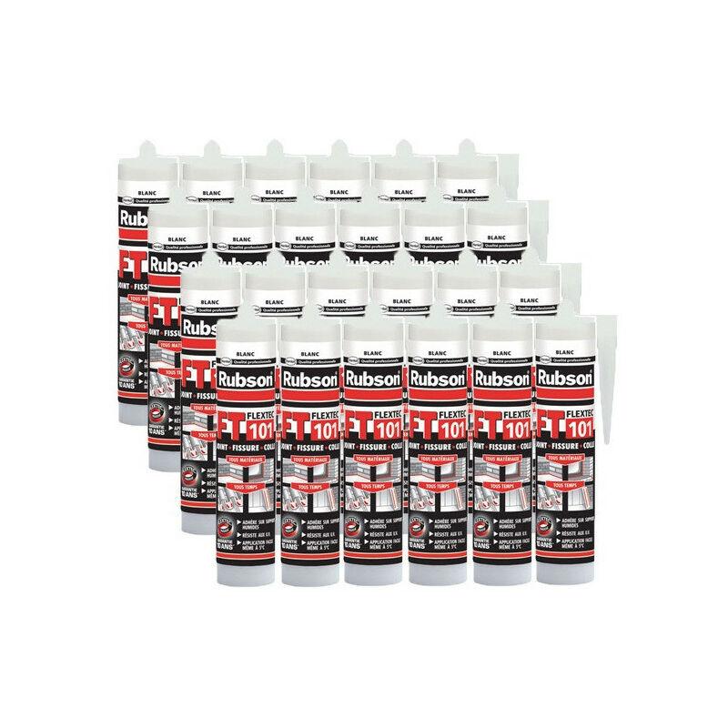 24x cartouches FT101 Mastic polyvalent en polymère Flextec 280 mL RUBSON (coloris: transparent, blanc, gris, noir, ton pierre, tuile)