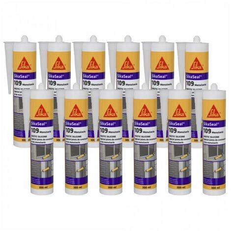 24x cartouches Mastic silicone neutre SIKA 300ml Sikaseal 109: translucide, blanc, gris, pierre, noir, anthracite - plusieurs modèles disponibles