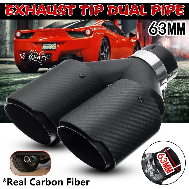2.5 '63mm double embout de tuyau d'échappement universel voiture véritable fibre de carbone en acier inoxydable fin queue silencieux noir mat