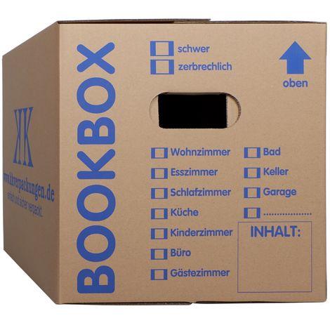 25 Bücherkartons 2-wellig Bookbox Ordnerkartons Archivkartons