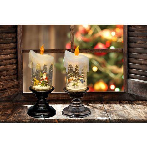 25 CM LED Water Candlestick Bundle Of 2 Snowman Scene & Santa Scene