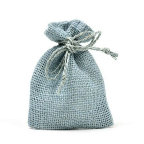 Bomboniera Matrimonio Azzurro : 25 sacchetti di juta azzurro per bomboniere confetti compleanni