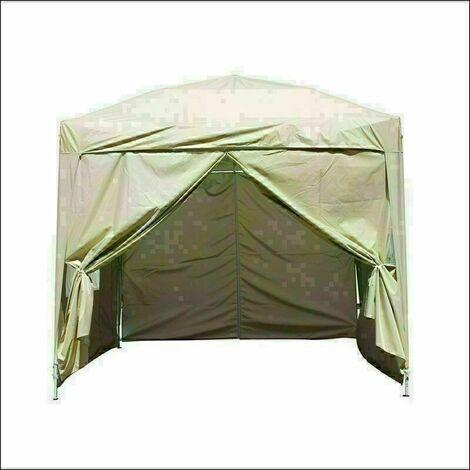 2.5 x 2.5m Garden Pop Up Gazebo Marquee Patio Canopy Wedding Party Tent- Beige