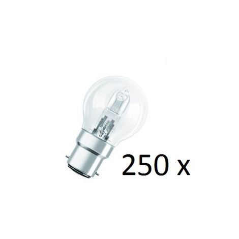 250 Osram Halogen BC-B22 Eco Classic 42W Energy Saver Golf Ball Shape Light Bulb