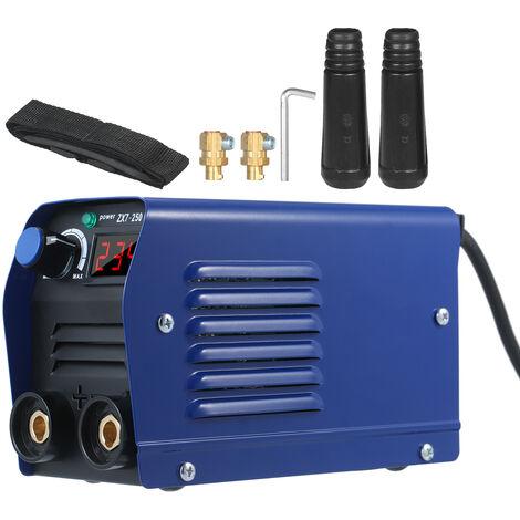 250 soldador de arco de amplificador inversor IGBT digital palillo de 220V mini portatil de soldadura electrica de la maquina con pantalla LED Conector rapido para principiantes enchufe de la UE, azul, enchufe de la UE, 1 #