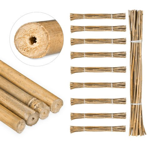 250 Varas de Bambú, Tutores para Plantas, Bambú Natural, 105 cm