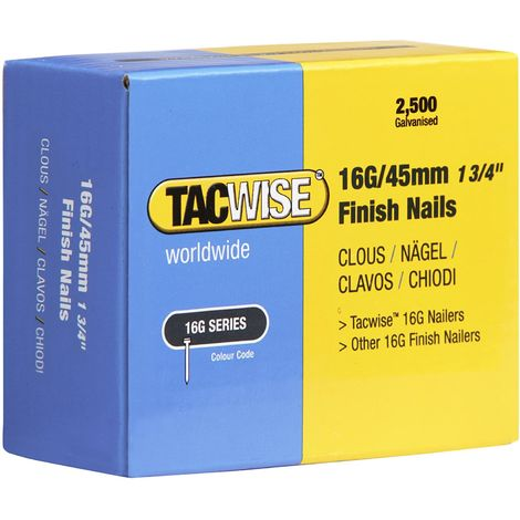 2500 Tacwise 45mm 16 Gauge Straight Finish Nails Brads 45mm galvanised