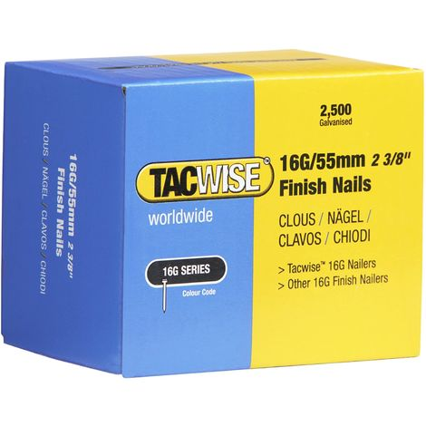 2500 Tacwise 55mm 16 Gauge Straight Finish Nails Brads 55mm galvanised