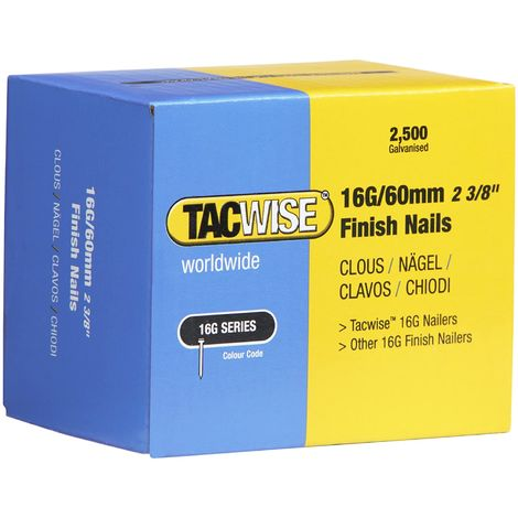 2500 Tacwise 60mm 16 Gauge Straight Finish Nails Brads 60mm galvanised