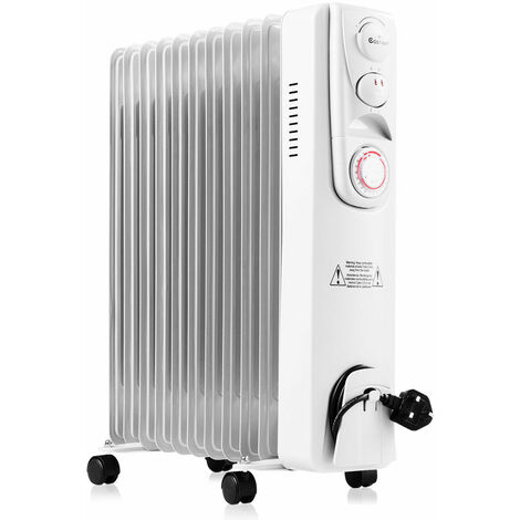 2500W 11Fin Oil Filled Radiator With Timer & Thermostat Portable Electric Heater