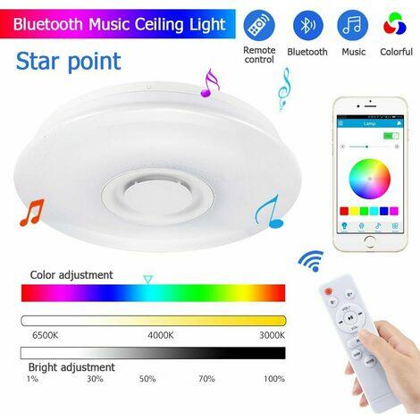 250W 180-265V 33CM bluetooth Speaker White + RGB Light Smart LED Ceiling Light Dimmable Modern Lamp