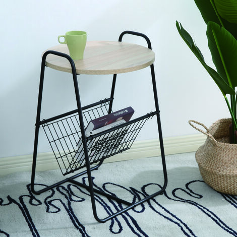 2556 Table basse ronde simple - Étagère en fil de fer barbelé - 46*45*66cm