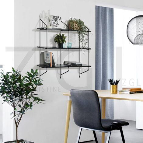 2558 Estante de pared de tres capas - panel de hierro, tubos de acero - negro