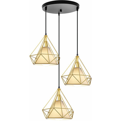 25cm Diamond Cage Ceiling Light Gold Retro Industrial Pendant Light 3 Lamp Holders Chandelier Vintage Hanging Light Iron Metal Pendant Lamp