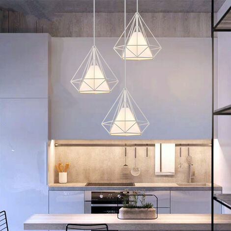 25cm Diamond Cage Ceiling Light White Retro Industrial Pendant Light 3 Lamp Holders Chandelier Vintage Hanging Light Iron Metal Pendant Lamp