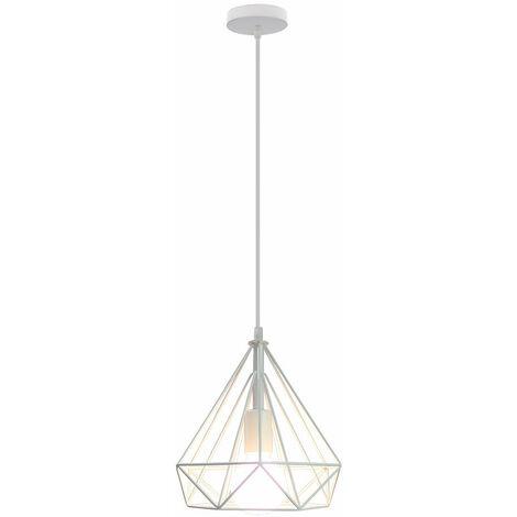 25cm Diamond Pendant Light Retro Pendant Lamp Industrial Metal Chandelier Antique Vintage Ceiling Lamp White
