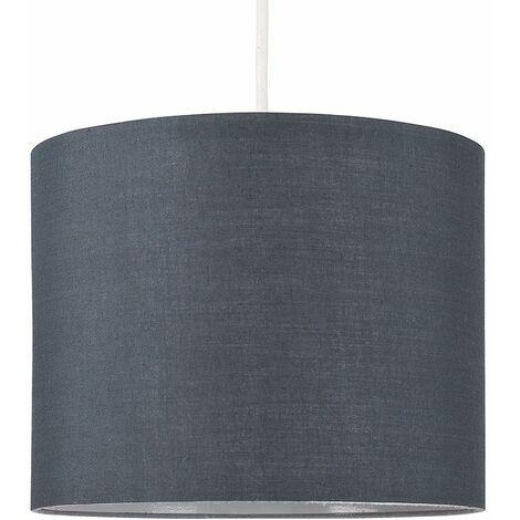 25cm Fabric Easy Fit Ceiling Pendant Table Lampshade - Dark Grey - Grey