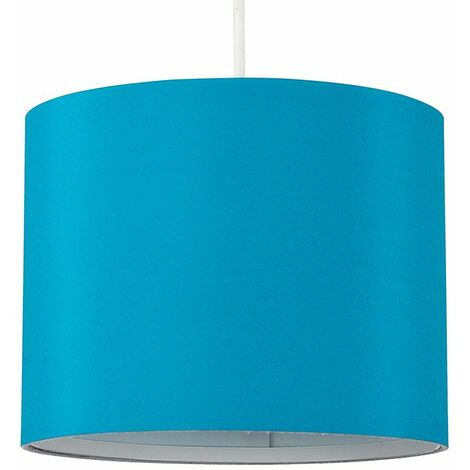 25cm Fabric Easy Fit Ceiling Pendant Table Lampshade - French Blue - Blue