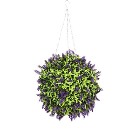 25CM Topiary Ball Artificial Lavender Flower Hanging Plants Lush Basket Chain