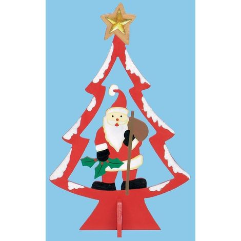 25cm Wooden Christmas Tree with Character - Red with Santa
