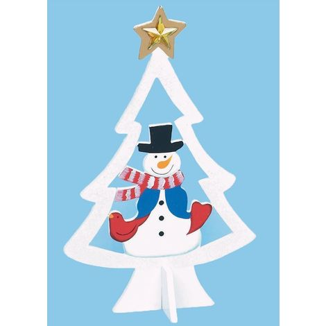 25cm Wooden Christmas Tree with Character - White with Snowman