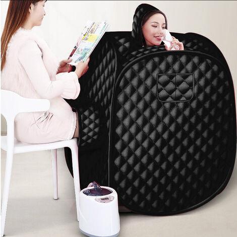 2,5L Sauna de vapor móvil para 2 personas sauna de vapor con asiento de sauna con generador de vapor Negro 1000W