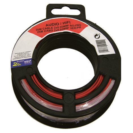 25m cable audio 2x0,50mm² rojo/negro