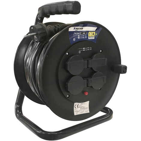 25m. extensible eléctrico con tapas 4 tomas TTL 16A 3x1,5mm. IP44 (Mader 68023)