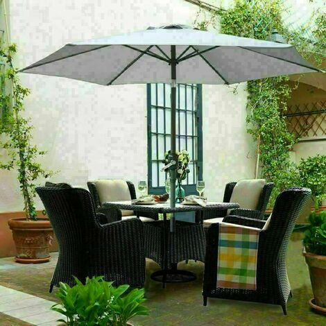 2.5M Round Garden Parasol Outdoor Patio Sun Shade Umbrella with Tilt Crank UV protection - Grey