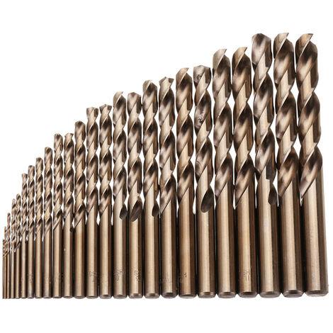 25pcs 1-13mm HSS M35 Broca helicoidal de cobalto para perforación de madera de metal