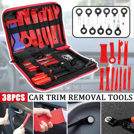 25pcs Perfection Pry Disassembly Tool Red Auto Car Audio Dash Tirm Panel Installer Dashboard Removal Opening Repair Tools Kit Interior Door Modeling Clip Set