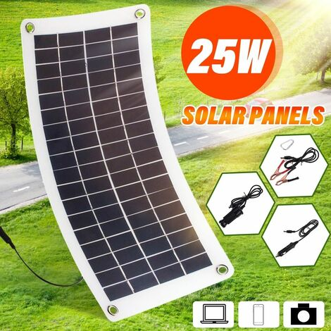 25W 12V Lightweight Flexible Monocrystalline Solar Panel for 12V Charging Battery on Boats Caravans Motorhomes Yachts RVs WASHED