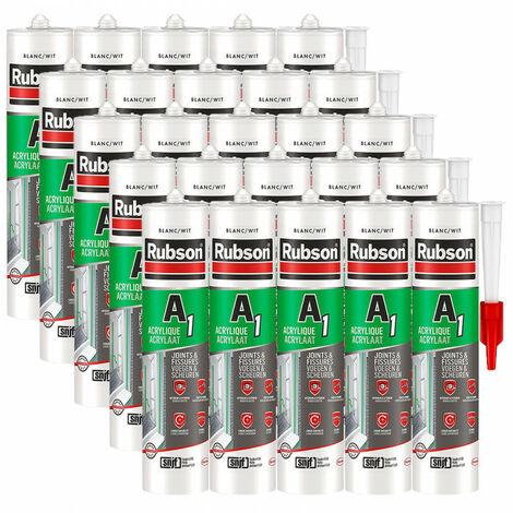 25x cartouches Mastic A1 acrylique SNJF joint et fissure Rubson (blanc, gris ou ton pierre) - plusieurs modèles disponibles