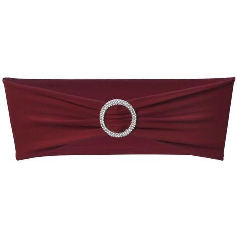 25x Stuhlschleifen Stretch Schleifenbänder + Diamant Schnalle Bordeaux