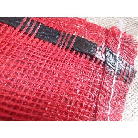 25x Yuzet 52cm x 85cm Red Close Weave Net Sack Kindling Log Vegetable bag