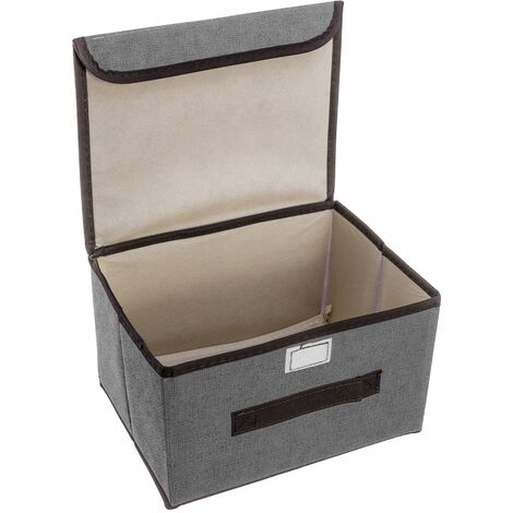 26 * 19 * 15CM Foldable Storage Box Organizer + Gray Cover Fabric Cube Basket
