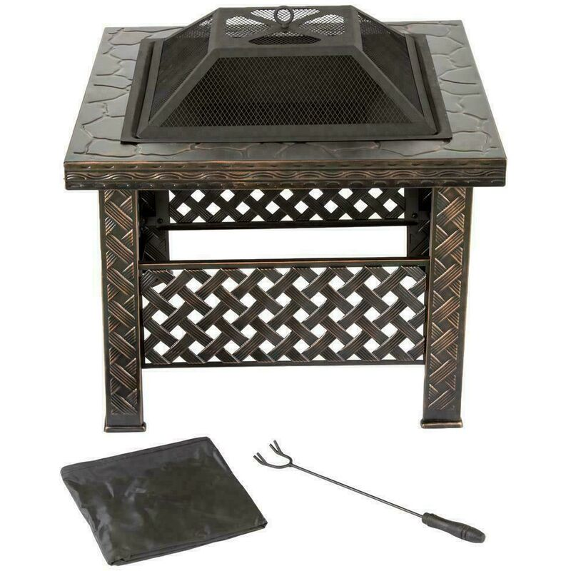 26' Square Black Steel Garden Fire Pit / Patio Heater (with Rain Cover)