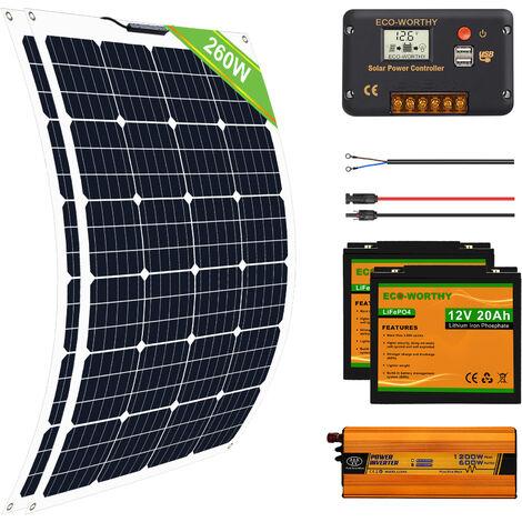 260W Flexible Solar Panel Complete Kit 20AH Lithium Battery 600W 12V-220V Inverter