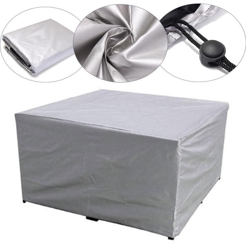 Zebraa - 260x135x82cm grande couverture extérieure meubles de jardin Patio étanche rotin Table Cube ensemble siège argent