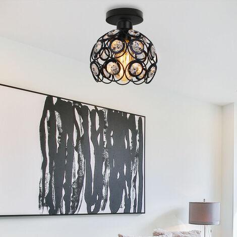 26cm Metal Industrial Ceiling Light Jewelled Lamp Shade Vintage Ceiling Lamp Black Diameter20 Creative Chandelier for Hallway, Bedroom, Dinning Room, Corridor, Balcony, Stairwells, Living Room, Office, general lighting.