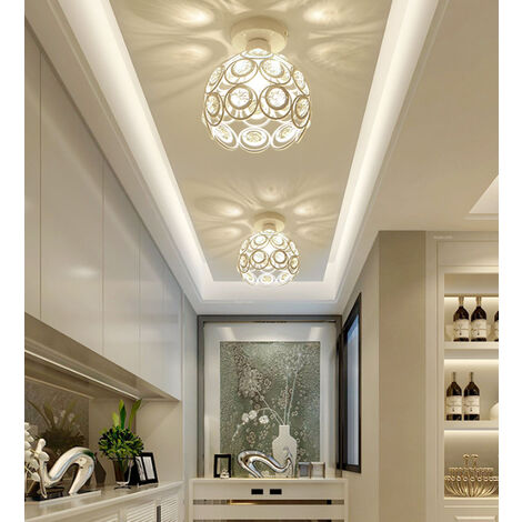 26cm Metal Industrial Ceiling Light Jewelled Lamp Shade Vintage Ceiling Lamp White Diameter20 Creative Chandelier for Hallway, Bedroom, Dinning Room, Corridor, Balcony, Stairwells, Living Room, Office, general lighting.