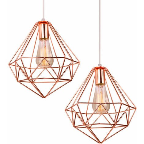 Ø26cm Modern Ceiling Lamp Creative Chandelier Industrial Pendant Light Vintage Hanging Light Nordic Pendant Lamp E27 Rose Gold(2pcs)