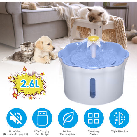 2.6L Automatic Pet Water Fountain Drinking Bottle with Triple 3 Adjustable Flow Setting for Cats Dogs Pet