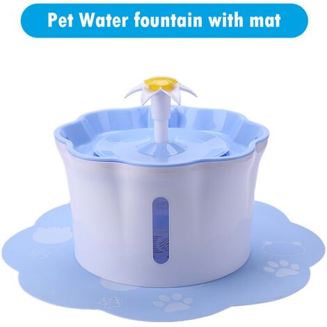 2.6L Automatic Pet Water Fountain Silent Drinking Electric Water Dispenser Feeder Bowl for Cats Dogs Multiple Pets with 1 Mat