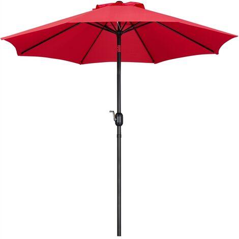 2.6m Patio Parasol Garden Umbrella Outdoor Table Parasol, with Tilt & Crank Handle & 8 Ribs, for Deck/Backyard/Pool