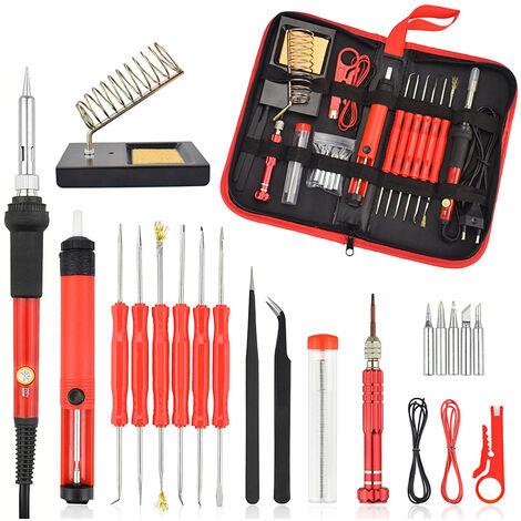 26Pcs 60W Kit de fer à souder électrique multifonctionnel tournevis pompe à dessouder pointe pince à fil + sac à outils prise UE / prise américaine réglementations européennes Prise UE 220V-240V