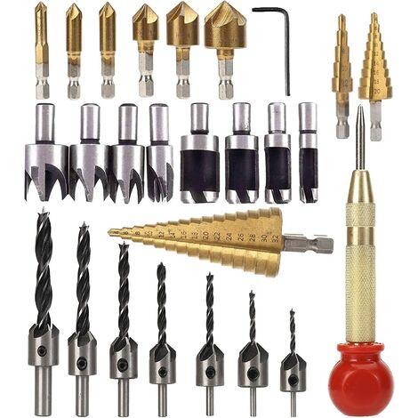 26pcs Countersink Drill Bit Set , Woodworking Drill Tools Include 8pcs Wood Grip Cutting Tool , 7 Three Point Drill Bits, 6pcs Countersink Drill Bits, 3pcs Step Cone Drill Bit